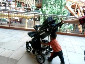 pushing stroller
